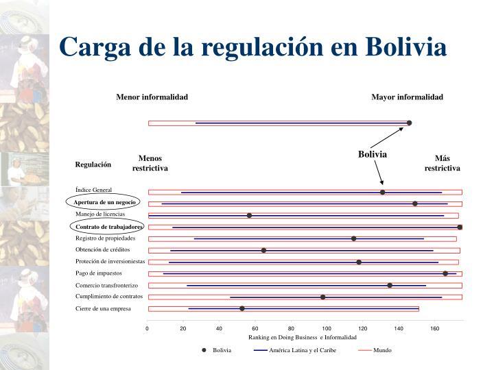 Carga de la regulación en Bolivia