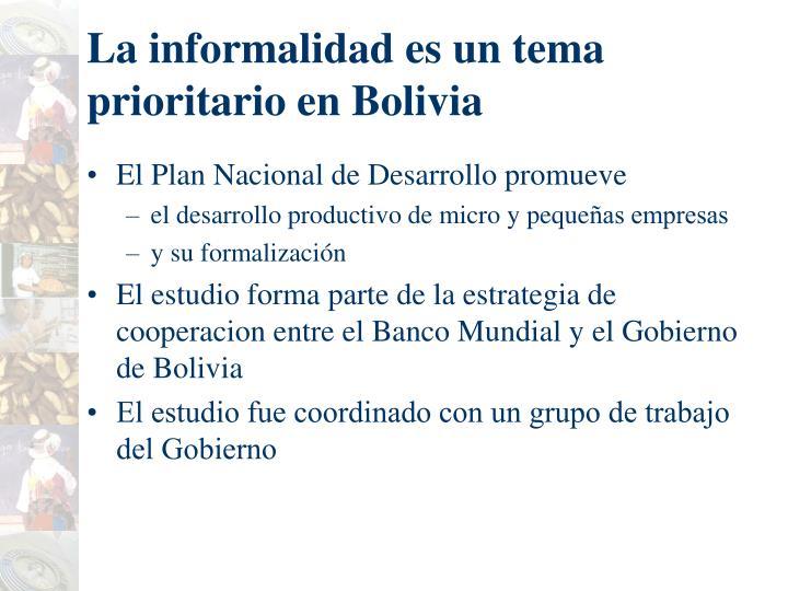 La informalidad es un tema prioritario en Bolivia