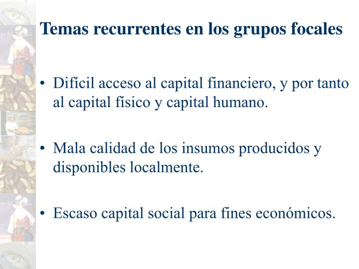 Temas recurrentes en los grupos focales