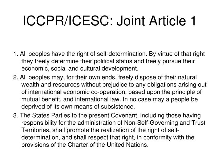 ICCPR/ICESC: Joint Article 1
