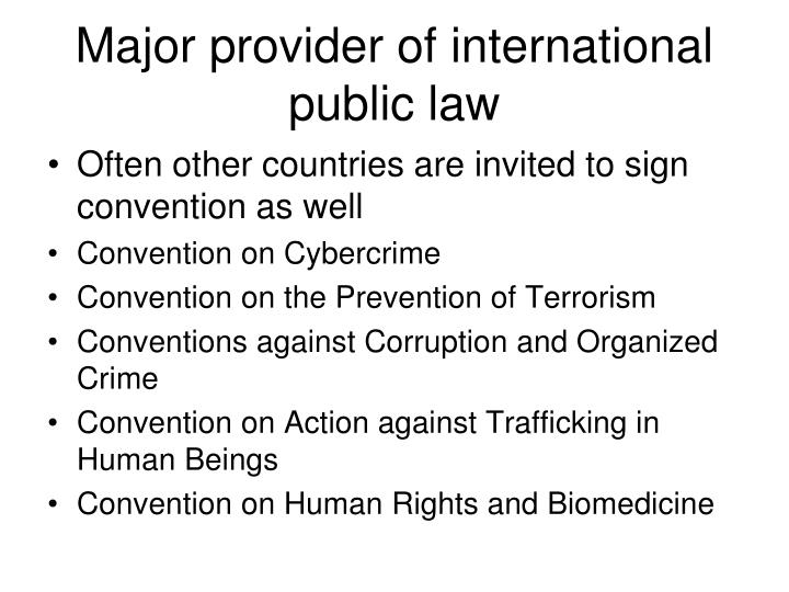 Major provider of international public law