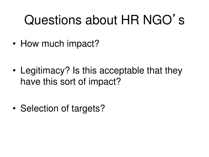 Questions about HR NGO