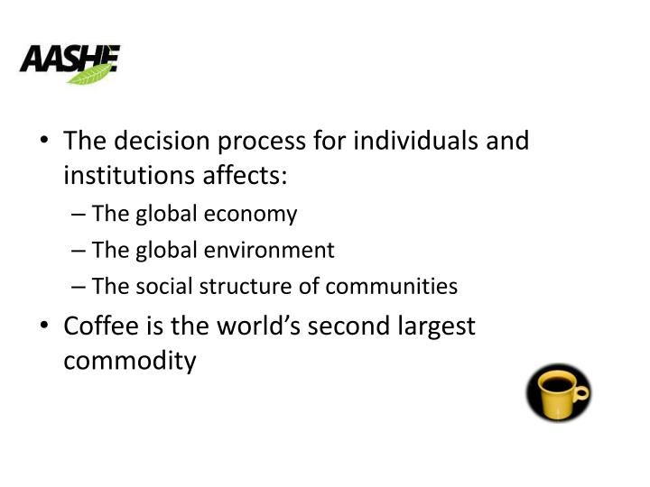 The decision process for individuals and institutions affects: