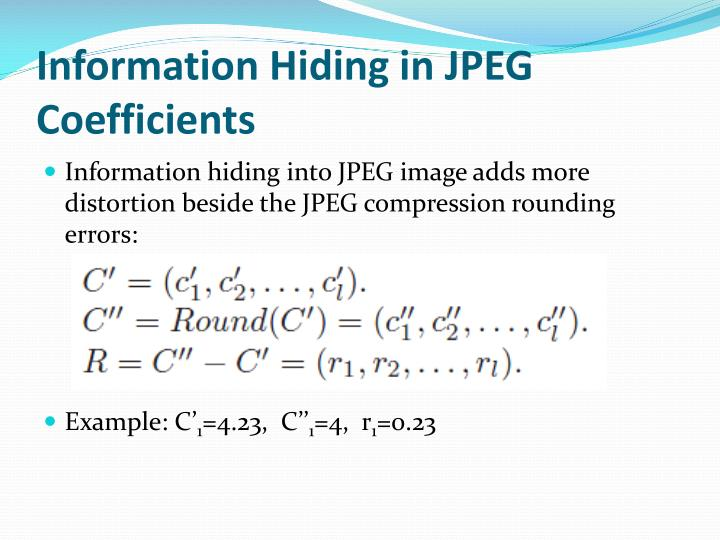 Information Hiding in JPEG Coefficients