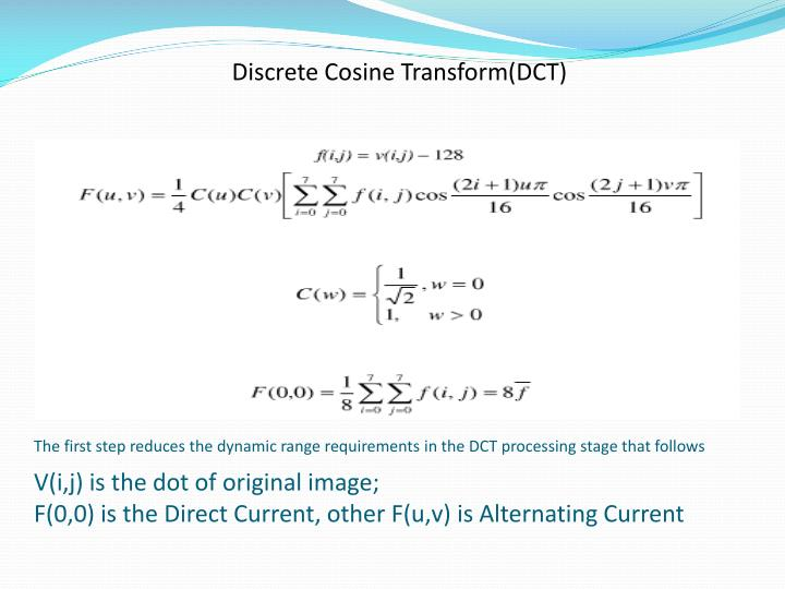 Discrete Cosine Transform(DCT)
