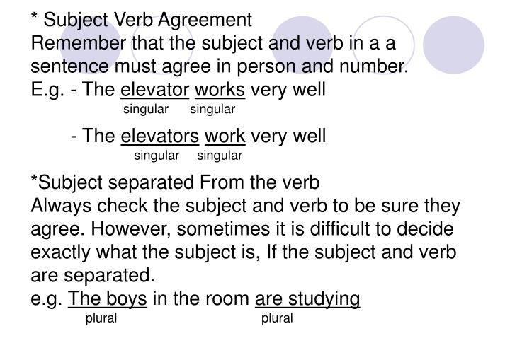 * Subject Verb Agreement