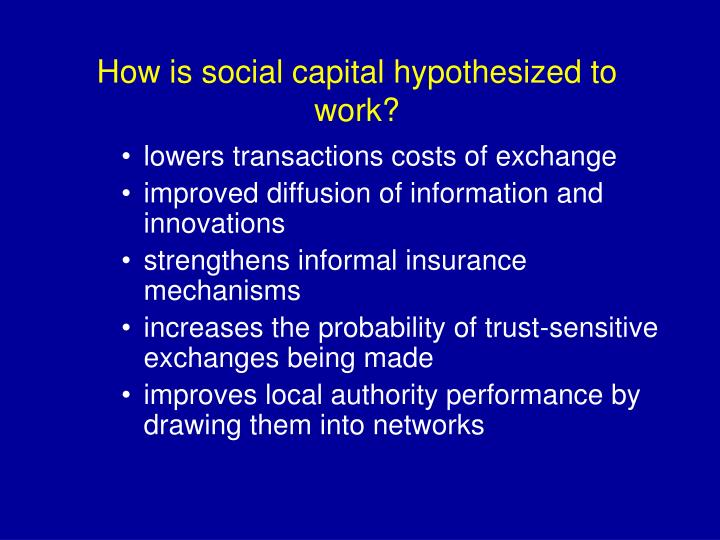 How is social capital hypothesized to work?