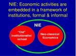 nie economic activities are embedded in a framework of institutions formal informal