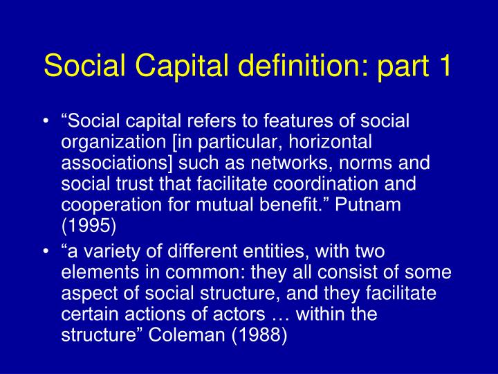 Social Capital definition: part 1