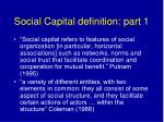 social capital definition part 1