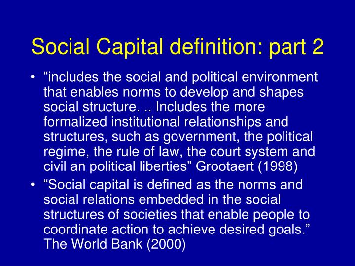 Social Capital definition: part 2