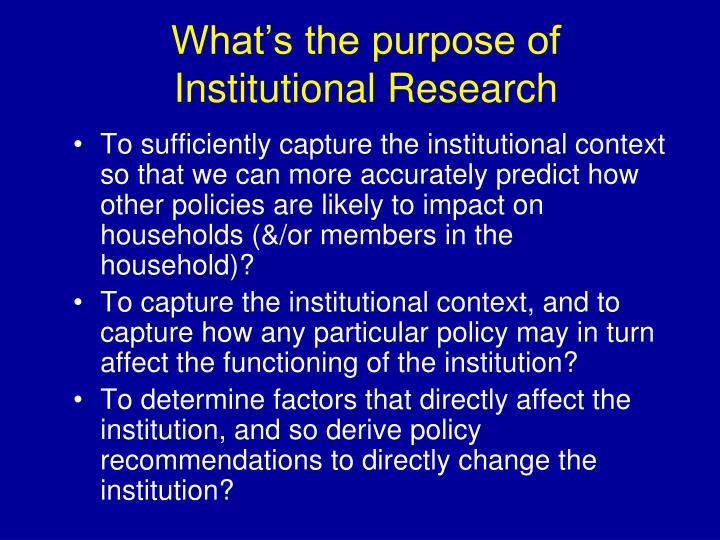 What's the purpose of Institutional Research