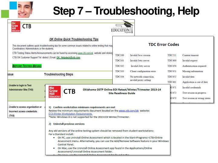 Step 7 – Troubleshooting, Help