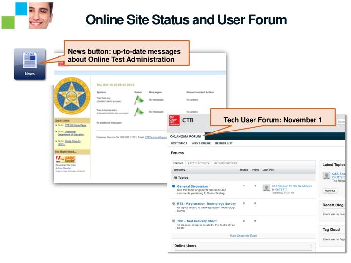 Online Site Status and User Forum