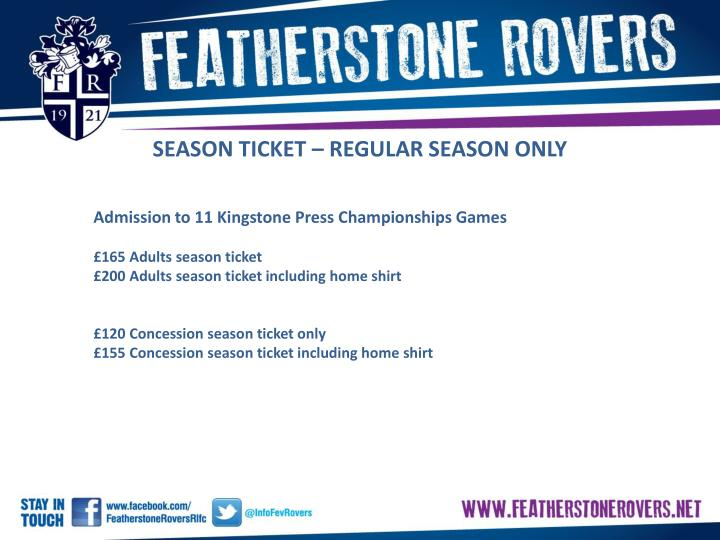 SEASON TICKET – REGULAR SEASON ONLY