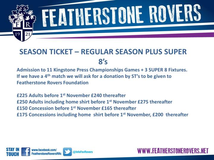 SEASON TICKET – REGULAR SEASON