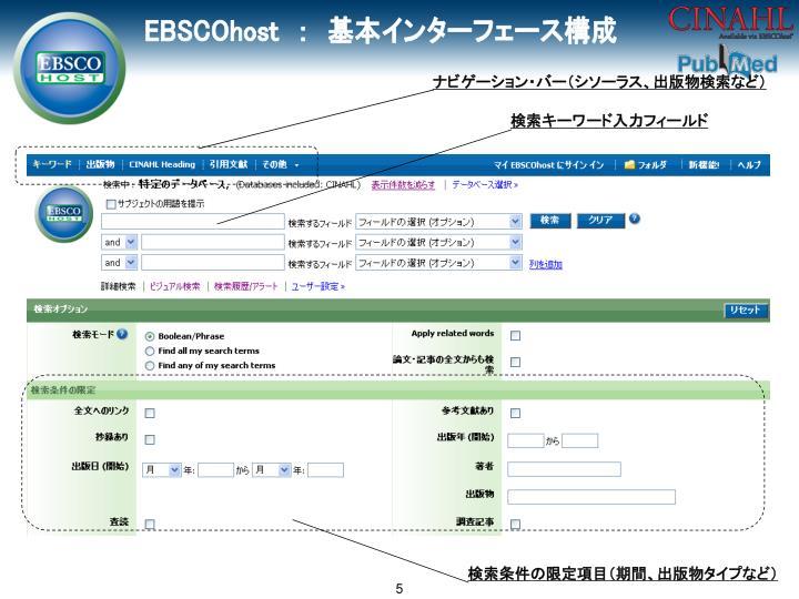 ナビゲーション・バー(シソーラス、出版物検索など)