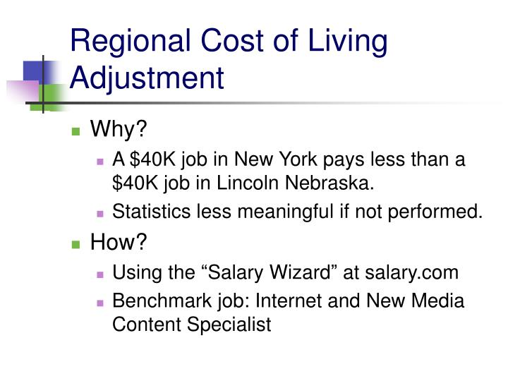 Regional Cost of Living Adjustment