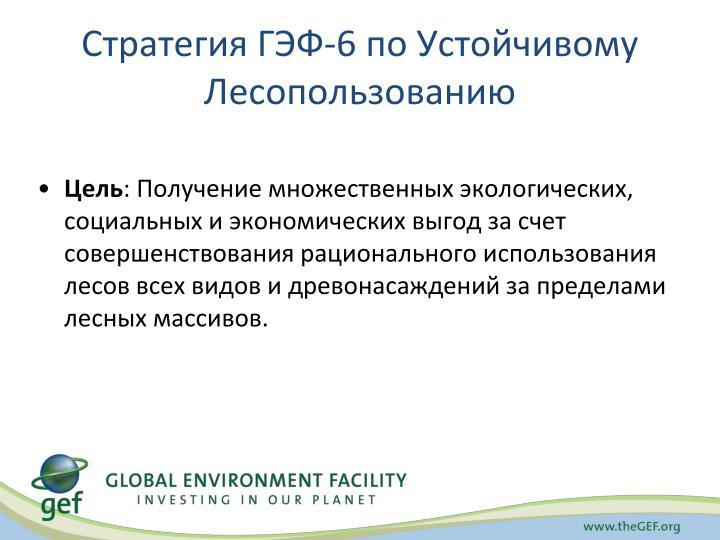 Стратегия ГЭФ-6 по Устойчивому Лесопользованию