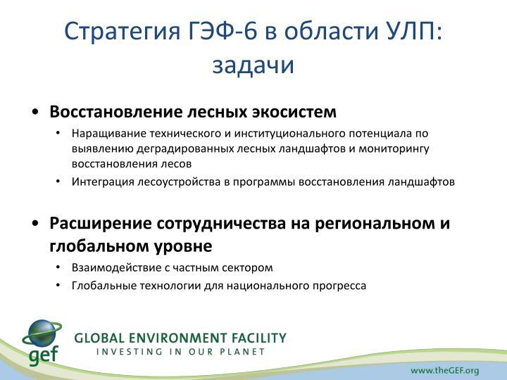 Стратегия ГЭФ-6 в области УЛП: задачи