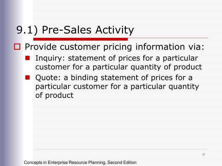 9.1) Pre-Sales Activity