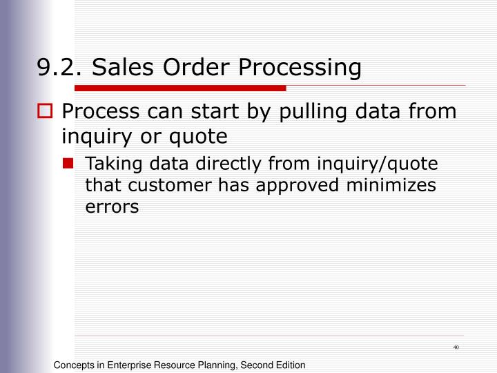 9.2. Sales Order Processing
