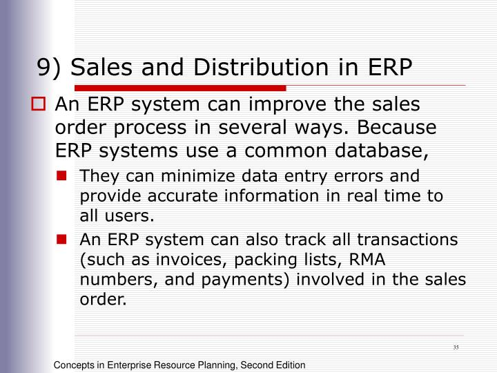 9) Sales and Distribution in ERP