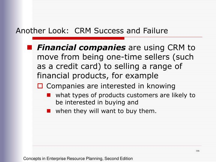 Another Look:  CRM Success and Failure