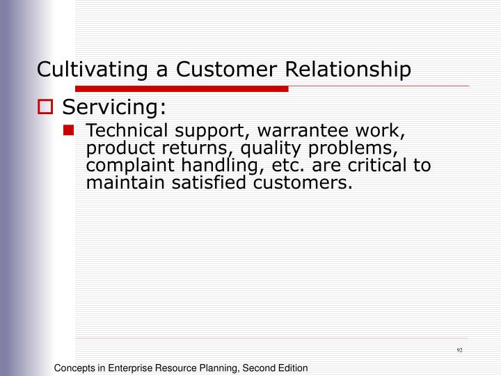 Cultivating a Customer Relationship
