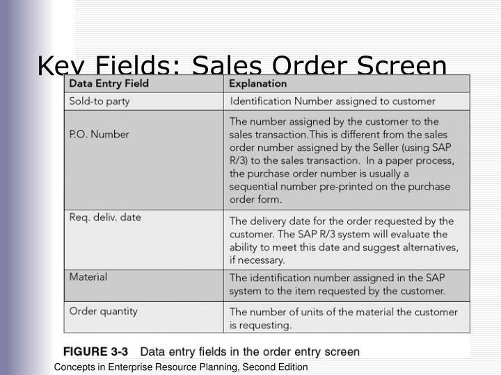 Key Fields: Sales Order Screen