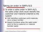taking an order in sap s r 3