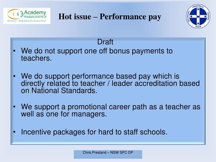 Hot issue – Performance pay