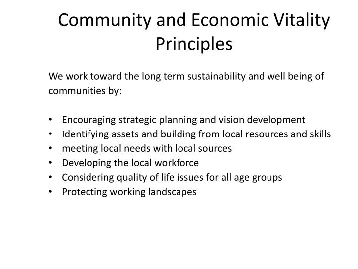 Community and Economic Vitality Principles