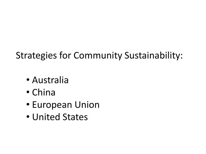 Strategies for Community Sustainability: