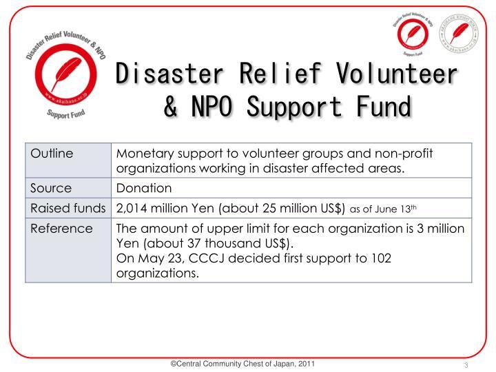Disaster Relief Volunteer & NPO Support Fund
