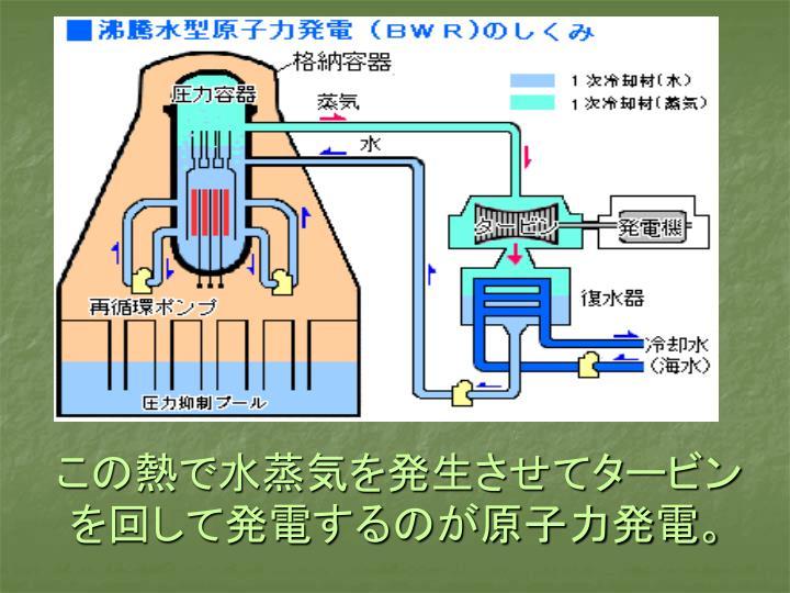 この熱で水蒸気を発生させてタービンを回して発電するのが原子力発電。