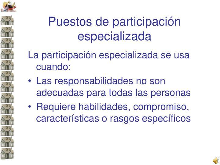 Puestos de participación especializada