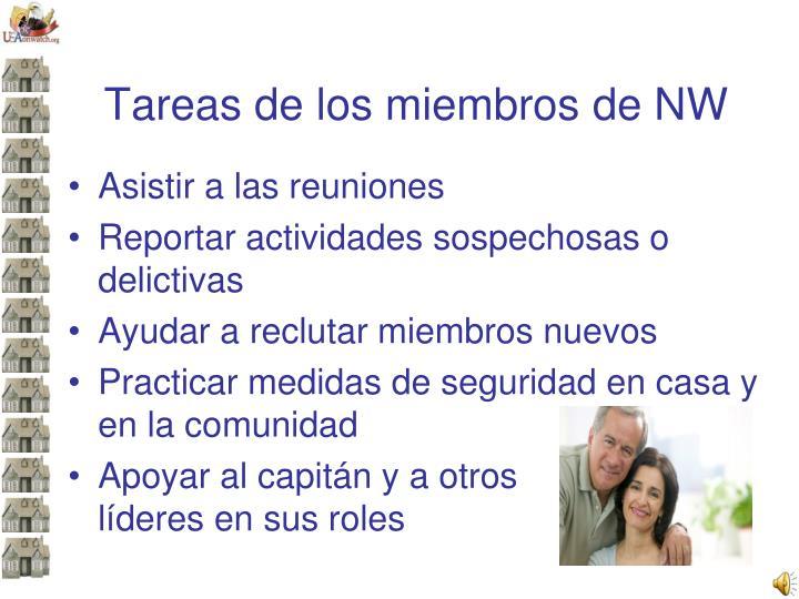 Tareas de los miembros de NW