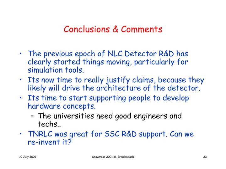 Conclusions & Comments