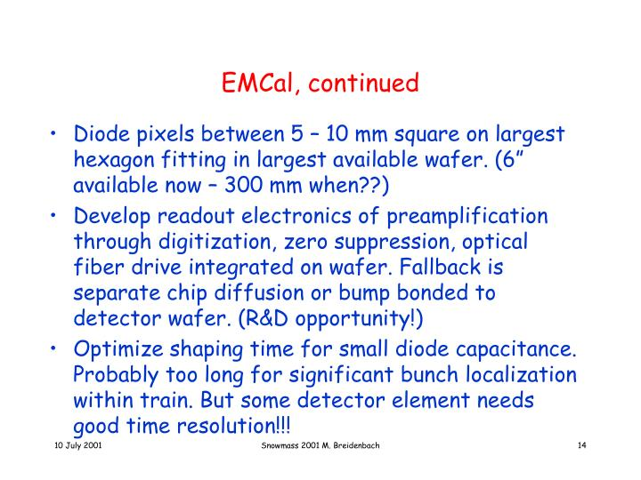 EMCal, continued