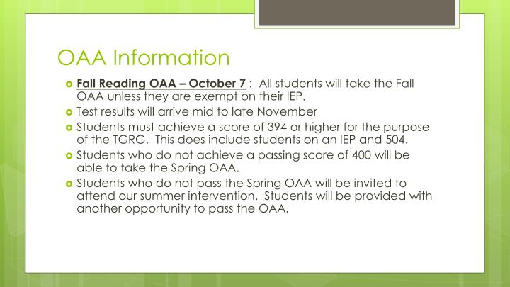 OAA Information