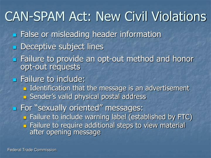 CAN-SPAM Act: New Civil Violations