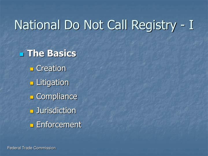 National Do Not Call Registry - I