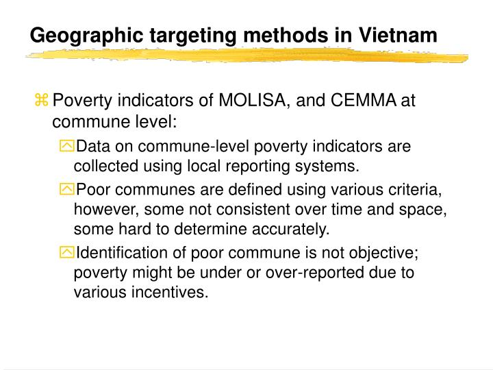 Geographic targeting methods in Vietnam