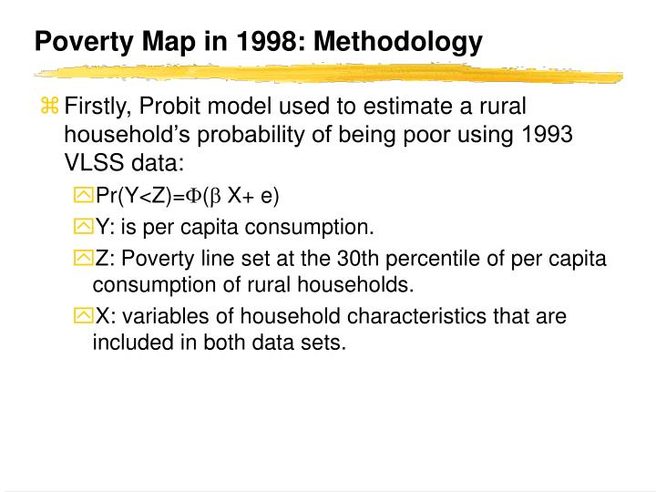 Poverty Map in 1998: Methodology