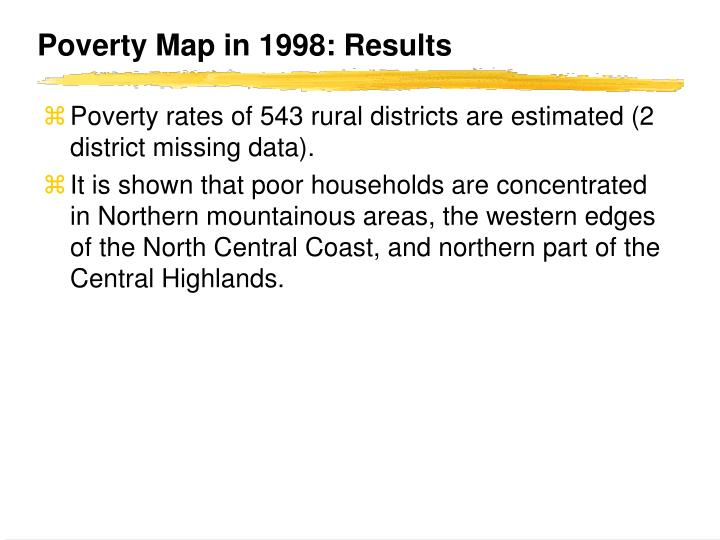 Poverty Map in 1998: Results