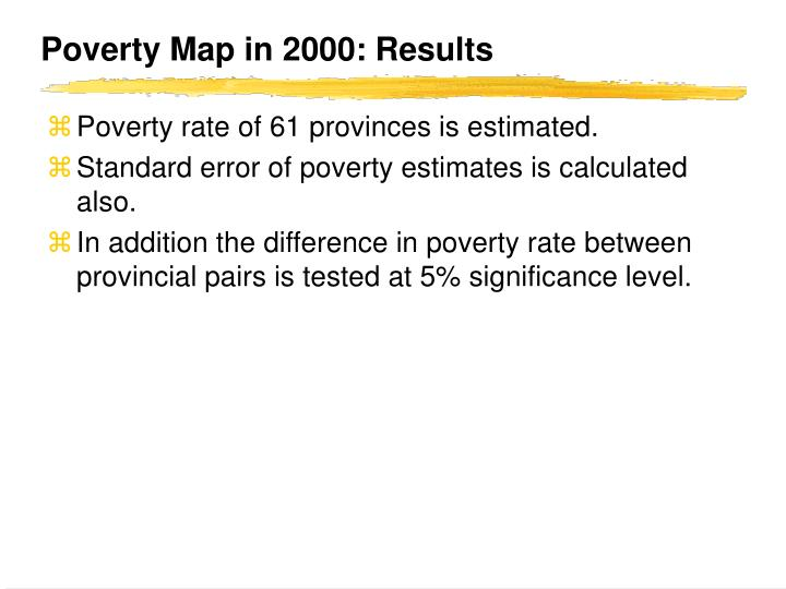 Poverty Map in 2000: Results