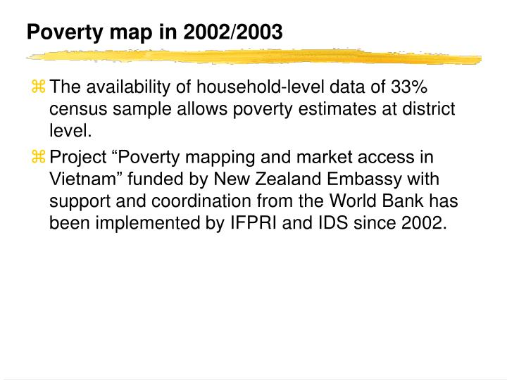 Poverty map in 2002/2003