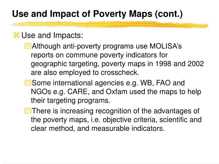 Use and Impact of Poverty Maps (cont.)