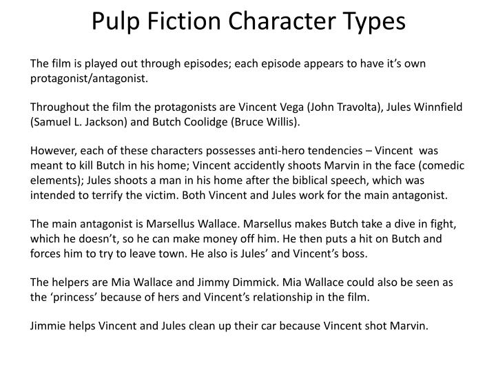 Pulp Fiction Character Types